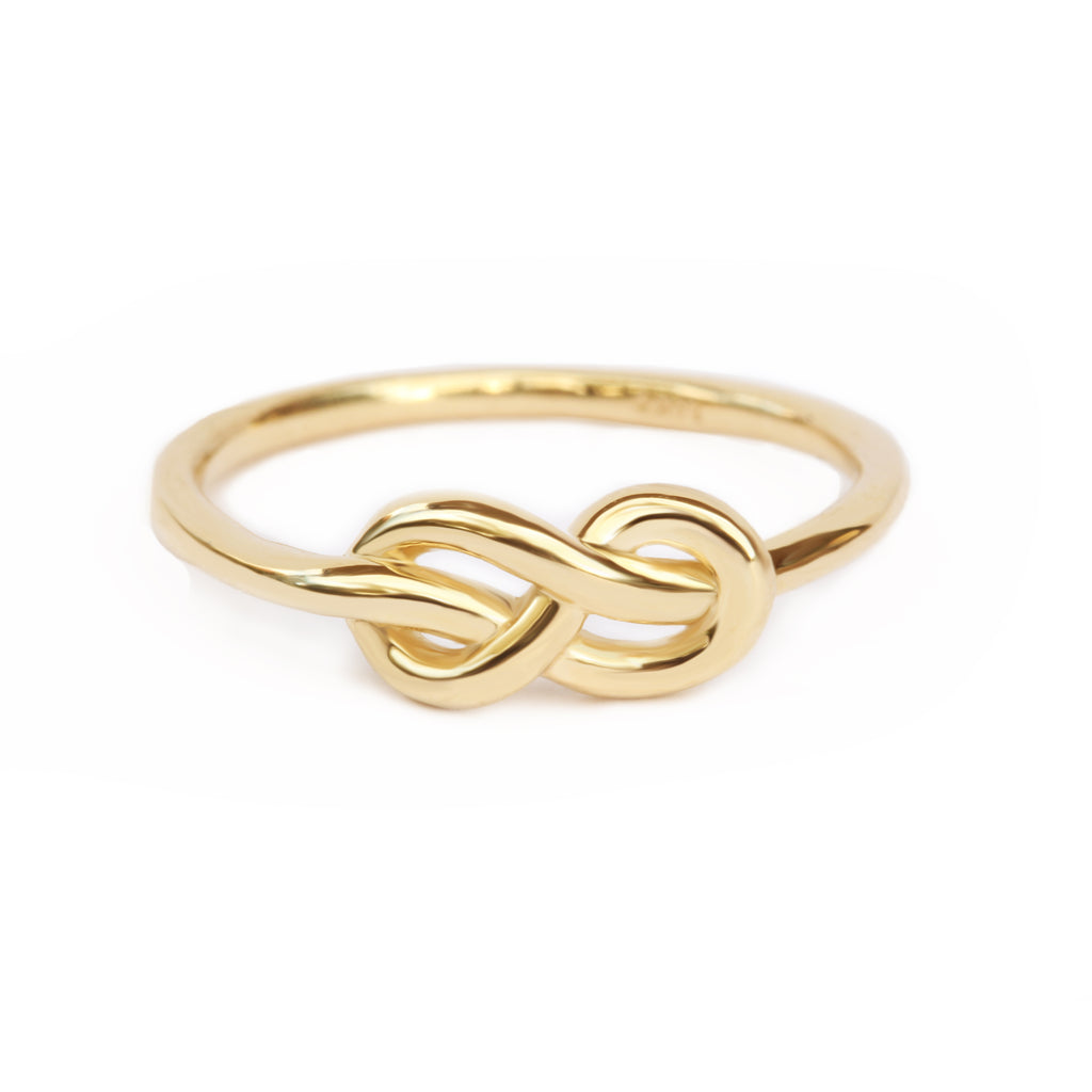 Petite Infinity Knot Gold Ring, delicate unique wedding bands Wedding Band - sillyshinydiamonds