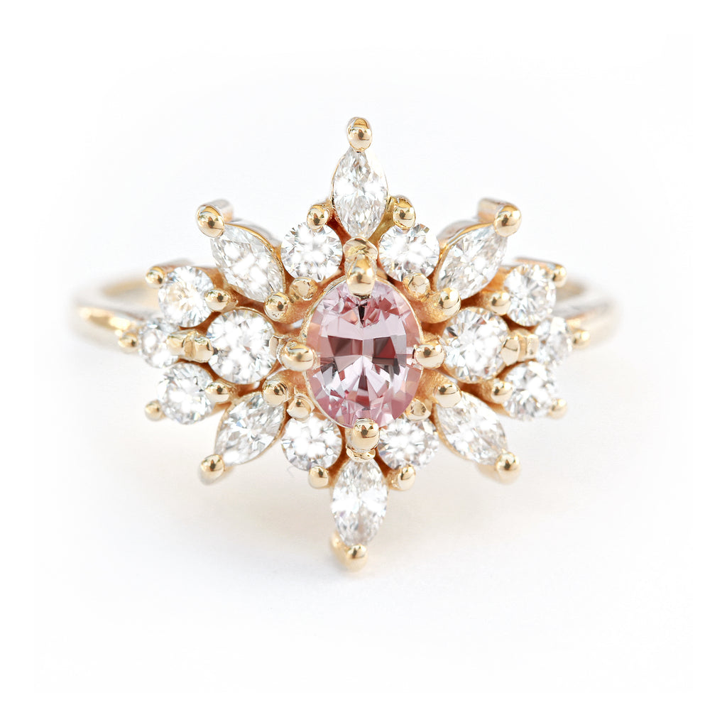 Cluster unique oval pink sapphire engagement Ring, Phenix - 14K rose gold, size 6.5