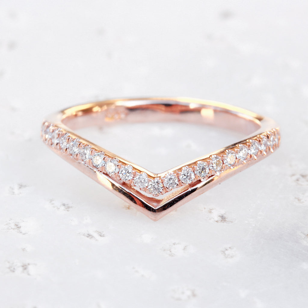 Double Chevron Diamond V Ring - sillyshinydiamonds