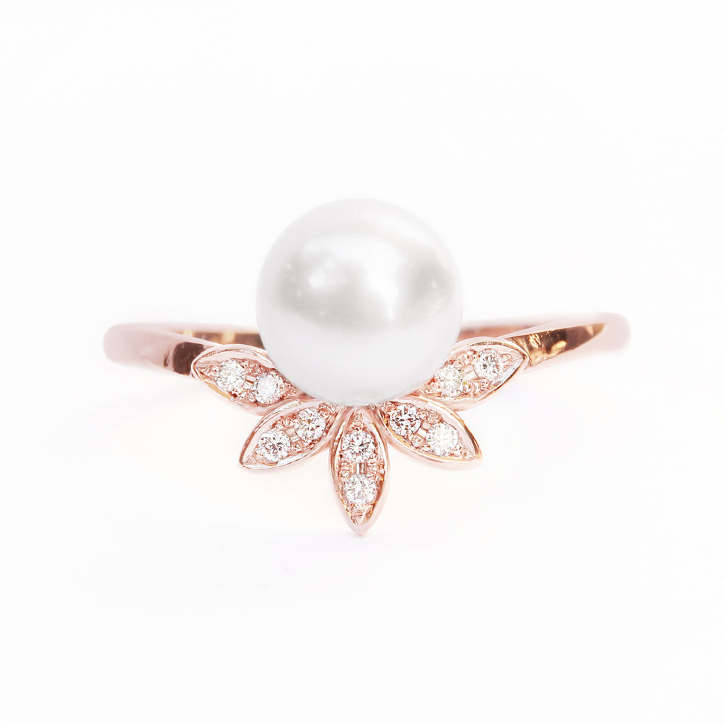 Pearl & Diamond Leaves Ring, Unique Multistone diamond ring - sillyshinydiamonds