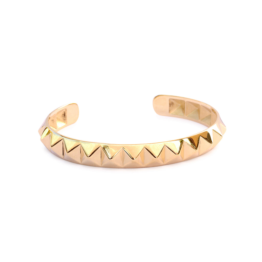 Pyramid Gold Cuff Bangle, 14K Yellow Gold, Ready to ship - sillyshinydiamonds