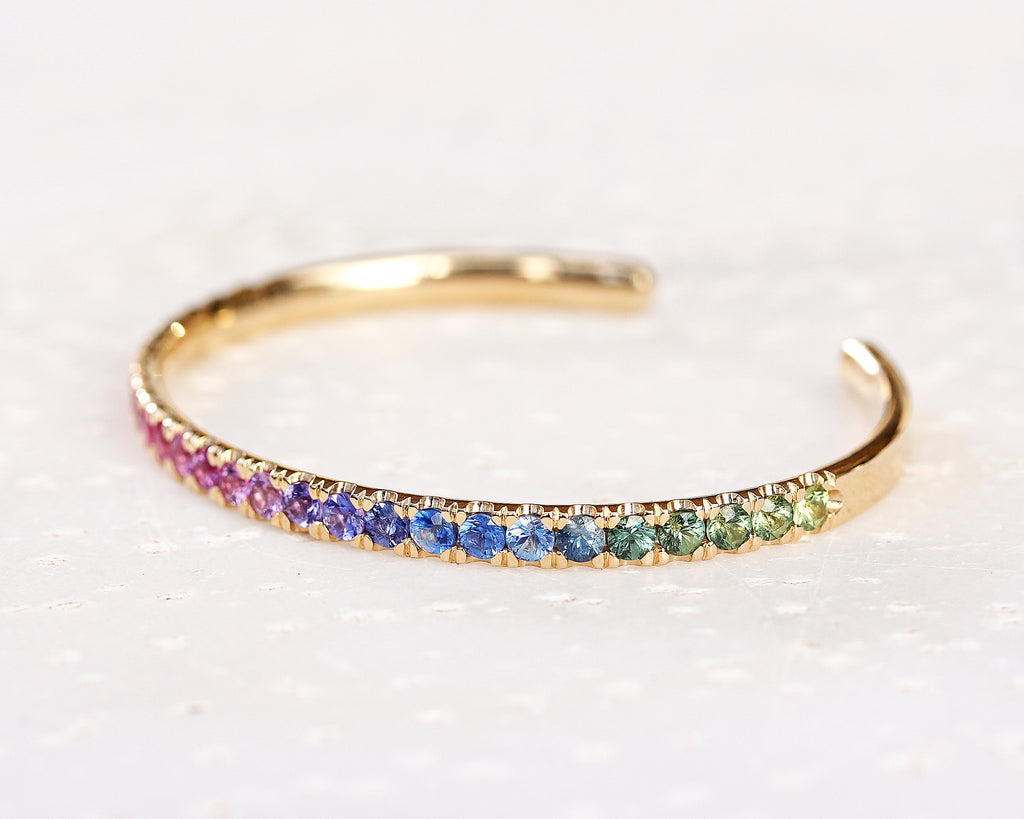 Rainbow cuff Bangle natural sapphire Bracelet - sillyshinydiamonds