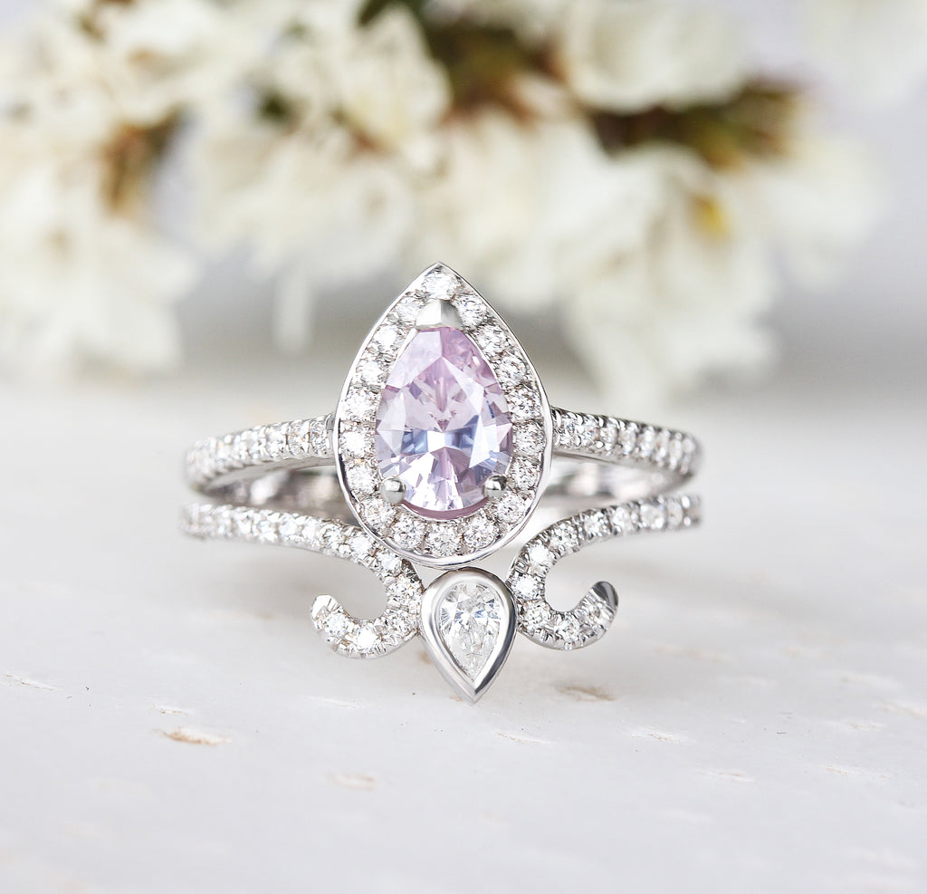 Pear light pink Sapphire & diamond Halo engagement ring - Ready to ship, 14K white gold, size 6.5