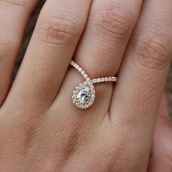 Bliss pear 0.96ct moissanite engagement ring