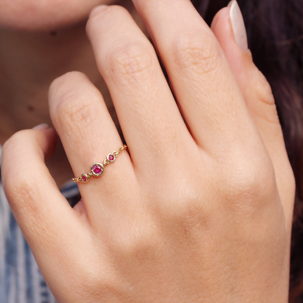 Dainty Chain Ring, Ruby, Emerald, Sapphire Ring - BIA