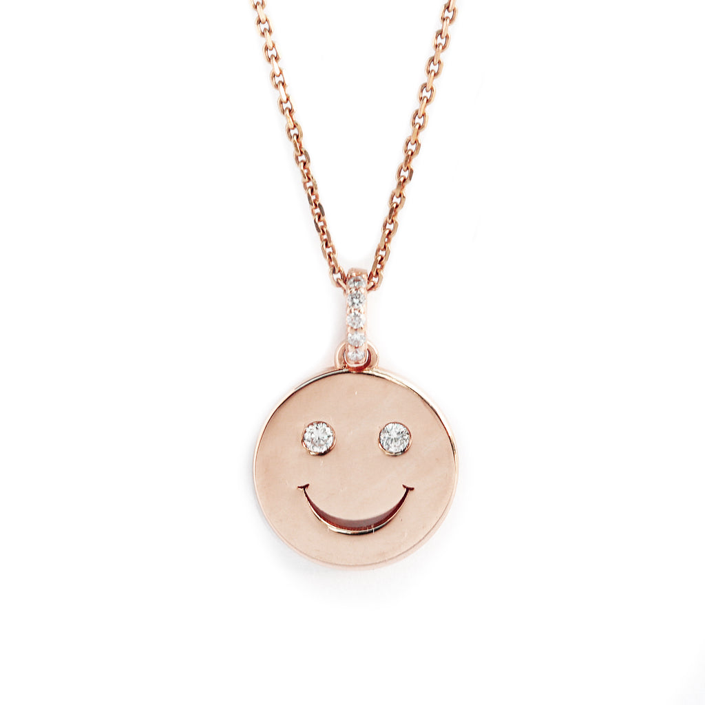 Smiley disc 12mm with diamond eyes charm / necklace