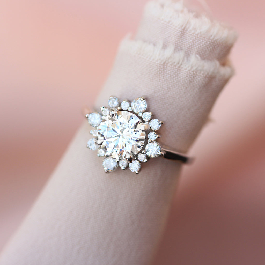 Delicate round cut & halo diamond flower engagement ring, Snowflake