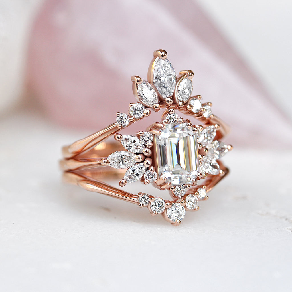 Emerald cut Moissanite Wedding Two Ring Set , Spark & Golden Snitch - sillyshinydiamonds