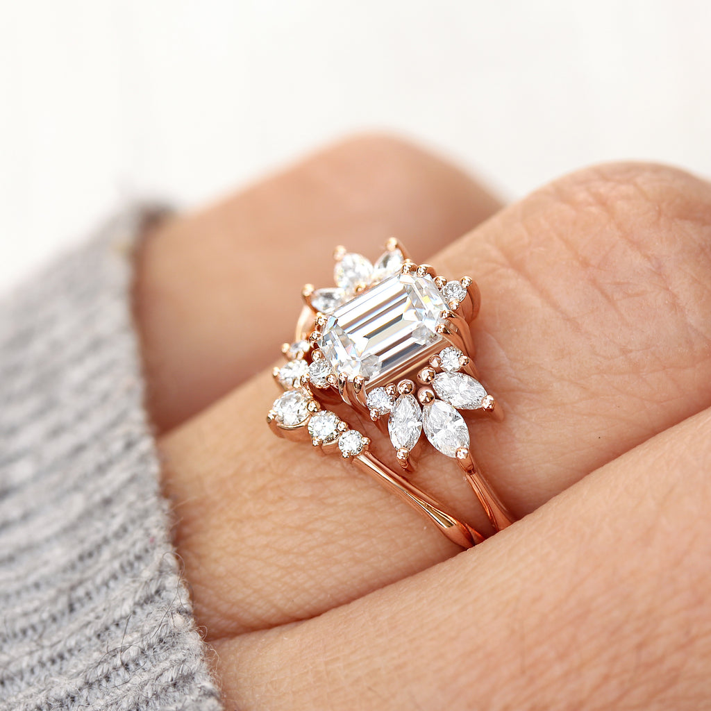 Emerald cut Moissanite Engagement ring , Spark - sillyshinydiamonds