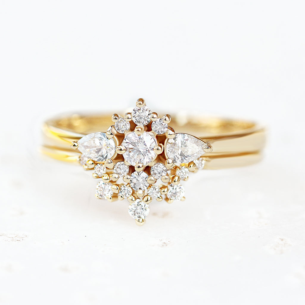 Diamond Unique Engagement Rings Set, Iris & sparktickles - sillyshinydiamonds
