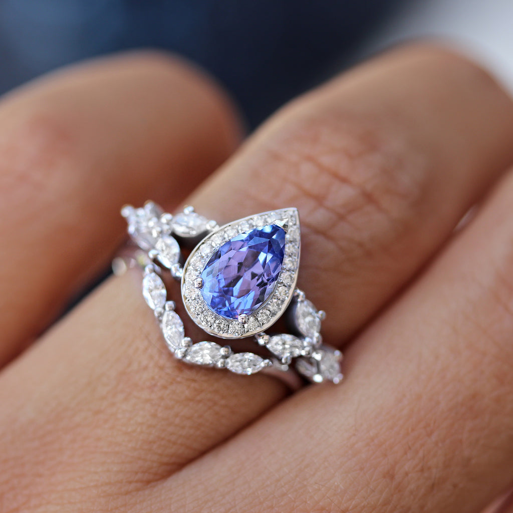 Pear Tanzanite unique engagement ring set white gold by Silly Shiny Diamonds