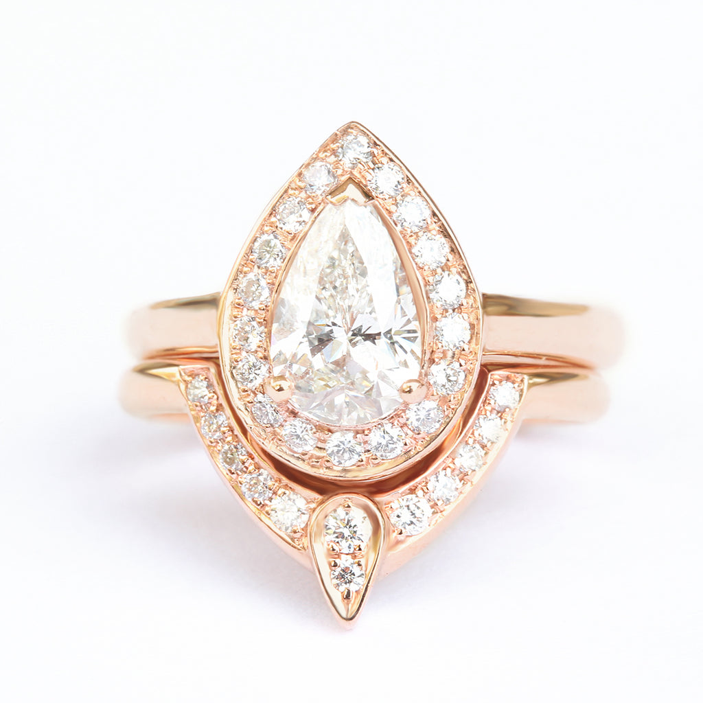 Pear Moissanite & Diamonds, The 3rd Eye Rings Diamond Bridal Set - sillyshinydiamonds