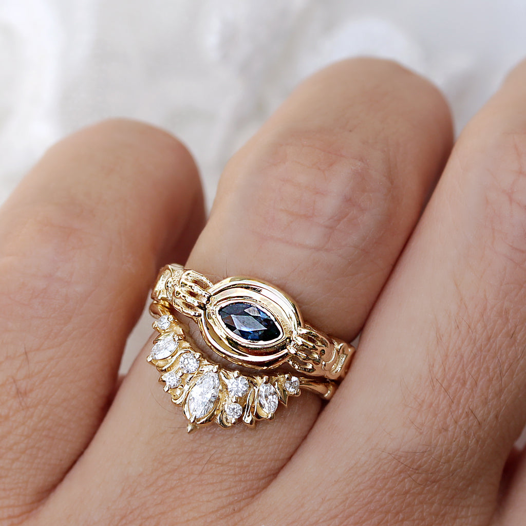 Blue Sapphire Marquise solitaire unique engagement ring ,The Holder - Ready to ship - sillyshinydiamonds