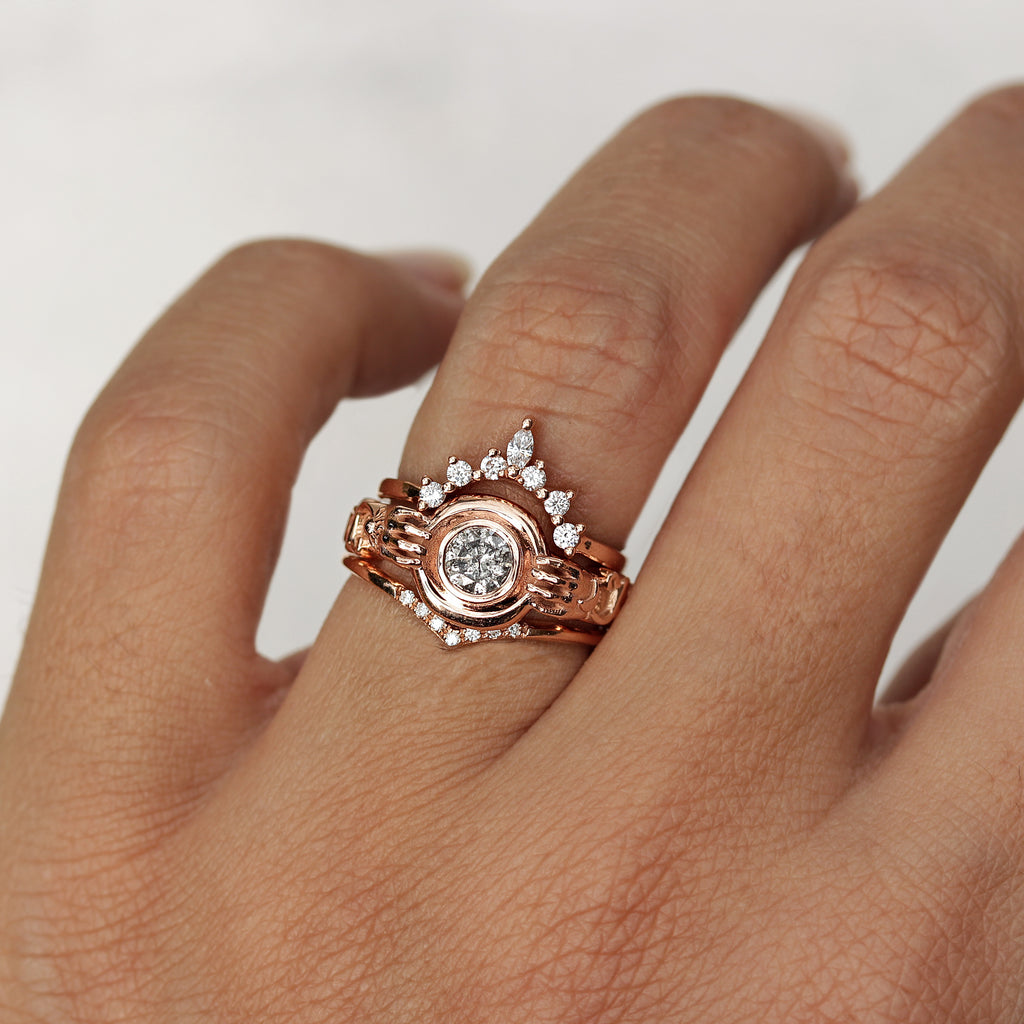 Salt & Pepper round solitaire unique engagement ring ,The Holder - Ready to ship Size 7US - sillyshinydiamonds