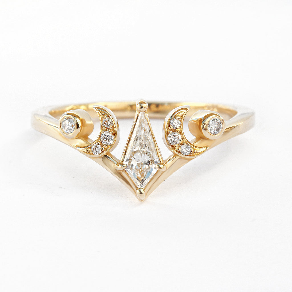 Kite Diamond, The Sorcerer Moon Phase,14K Yellow Gold size 6.5, Celestial Diamond Ring - READY to ship - sillyshinydiamonds