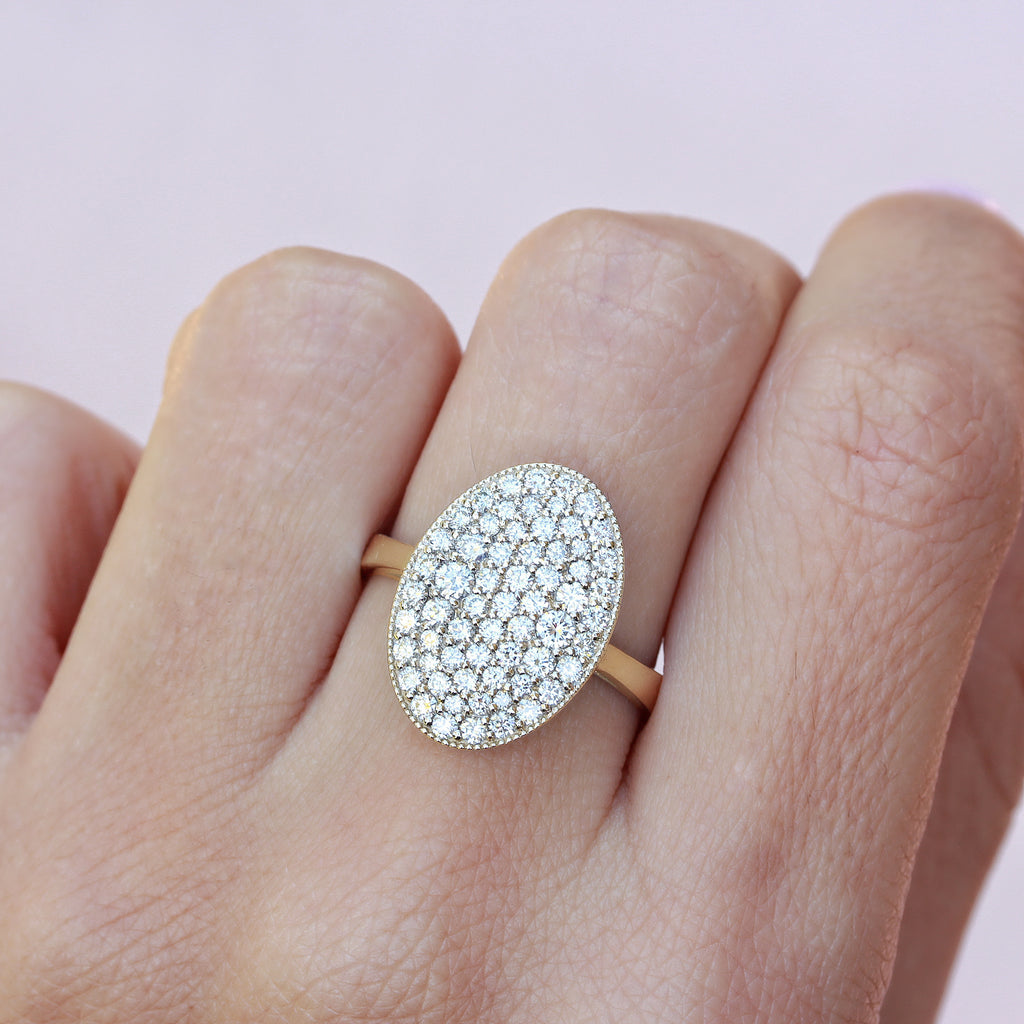 Oval diamond cocktail ring, Twilight ring