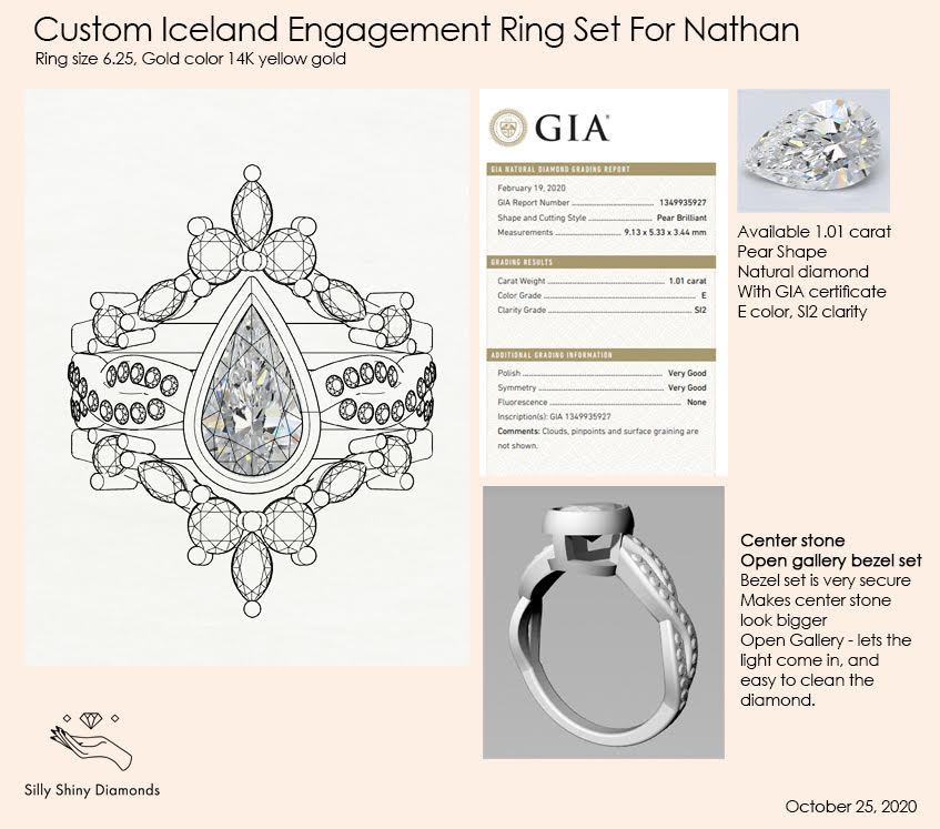 Private listing for Nathan - 7 payments plan, 14K yellow gold, size 6, Custom Iceland ring set