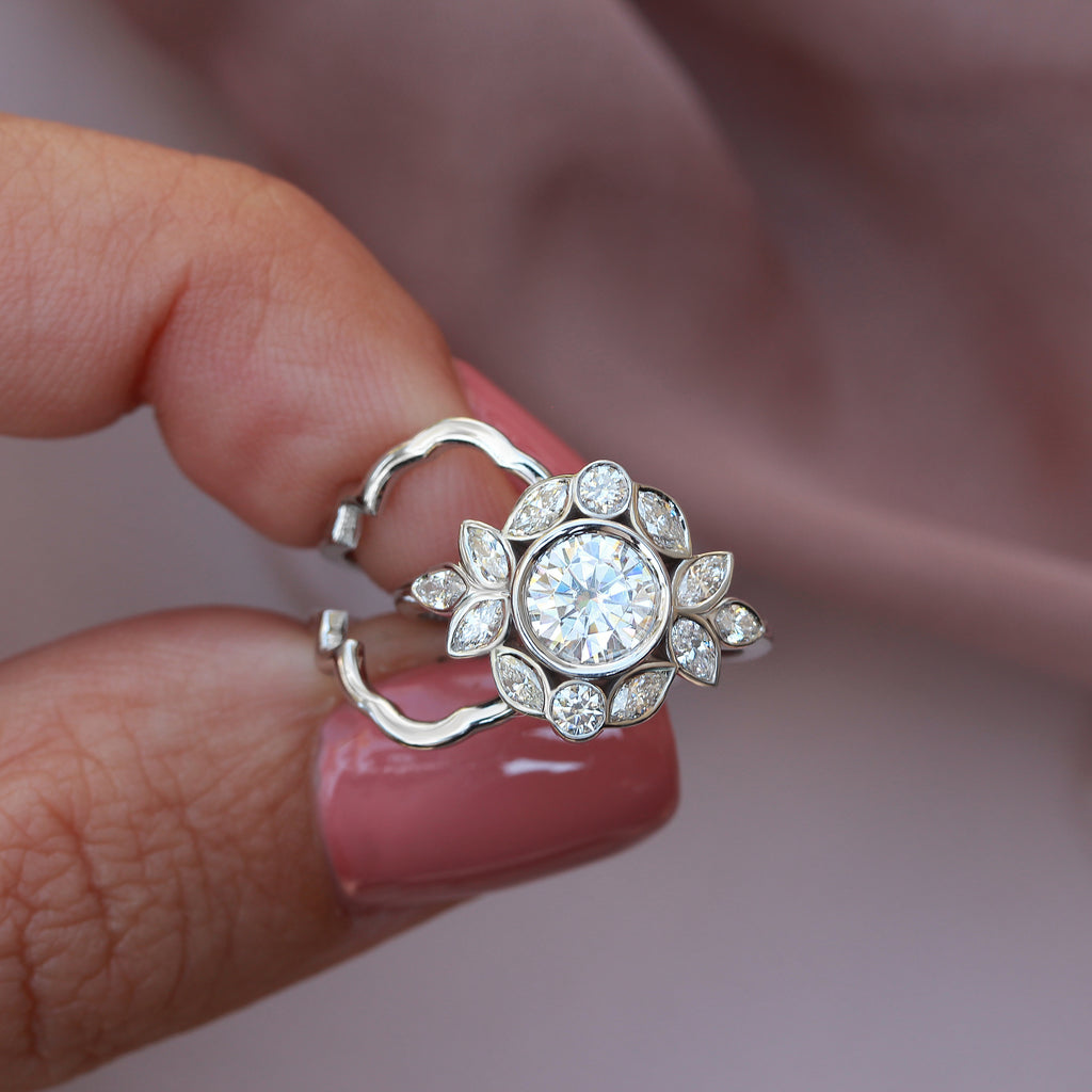 Lily Emma Bezel Diamond Engagement Ring Set with Gold Ring Guard