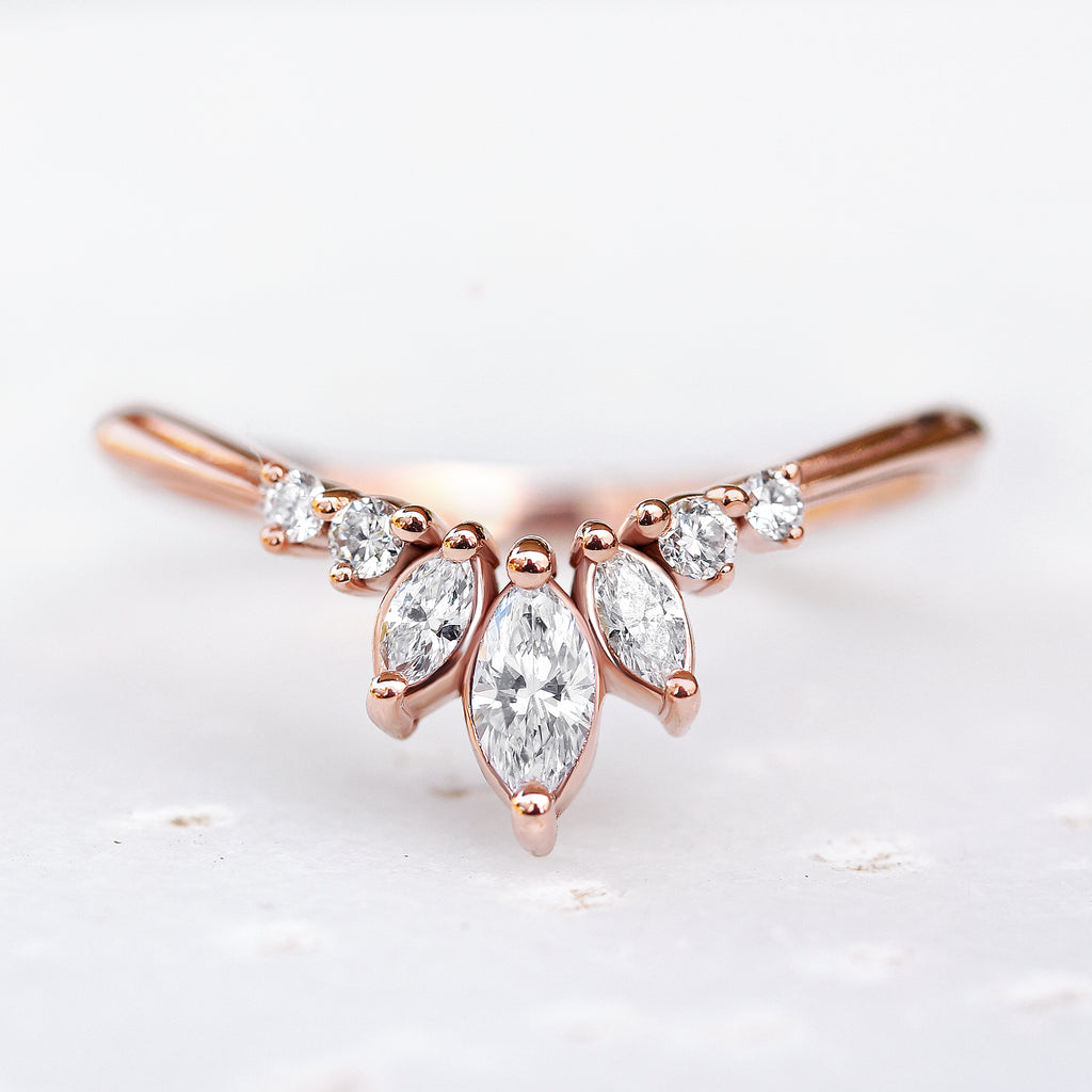 'Danielle' unique Chevron Diamond Ring - sillyshinydiamonds
