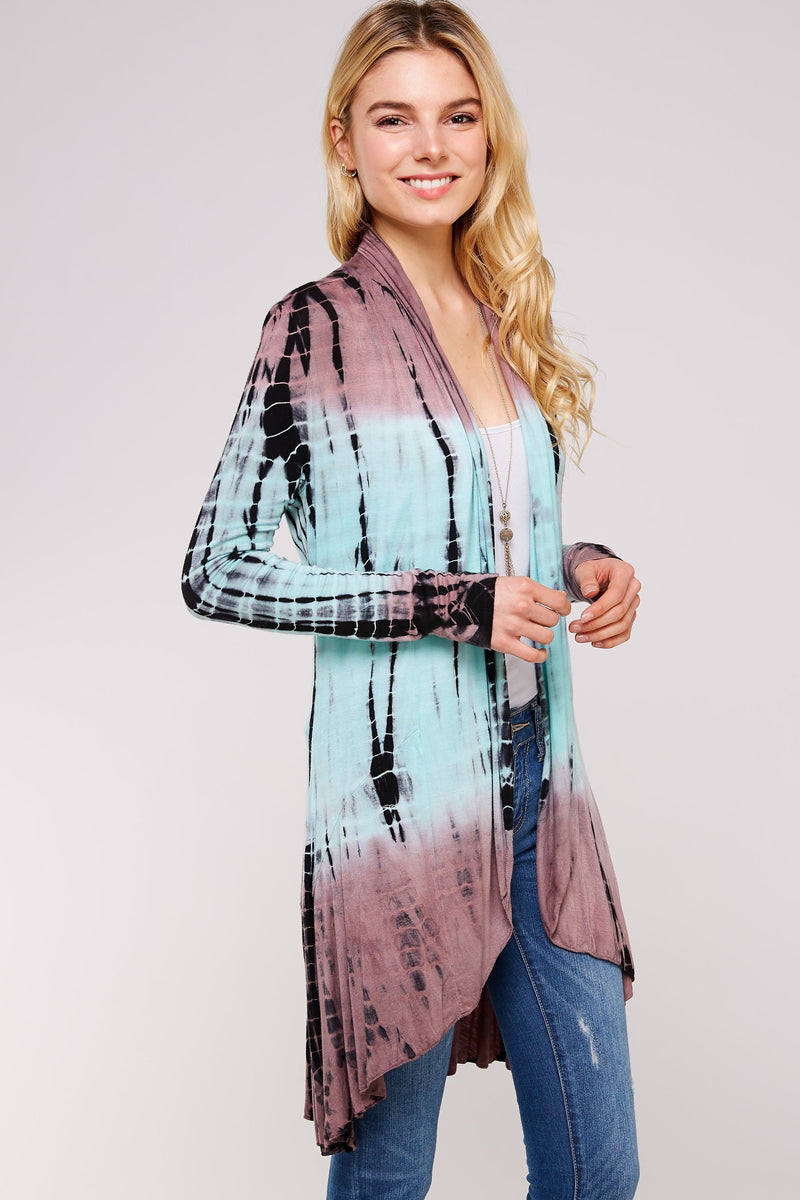 Wholesale Clothing, Online Wholesale Clothing, Women Clothing, Bohemian, Free People, tiedye, specialty wash, wholesale seller, wholesale women clothing shop, gypsy look, USA made, URBAN X APPAREL-CARDIGANS-UCR3004MM, fashiontrend2019