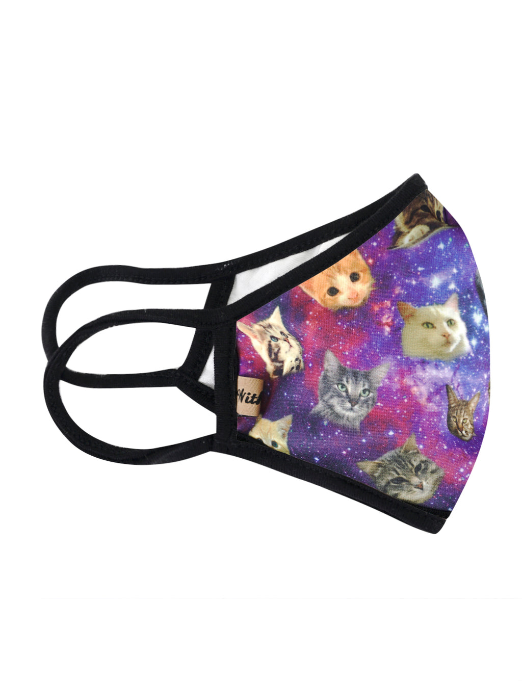 "urban x apparel, urban x clothing, urbanxapparel, urbanxclothing, wholesale, women clothing, bohemian, free people, free spirit, young contemporary, fashion trend, fashion style, fashion 2019,RETAIL, Multicolor ""Galaxy Cats"" Print Washable & Reusable Face Mask, URBAN X APPAREL"
