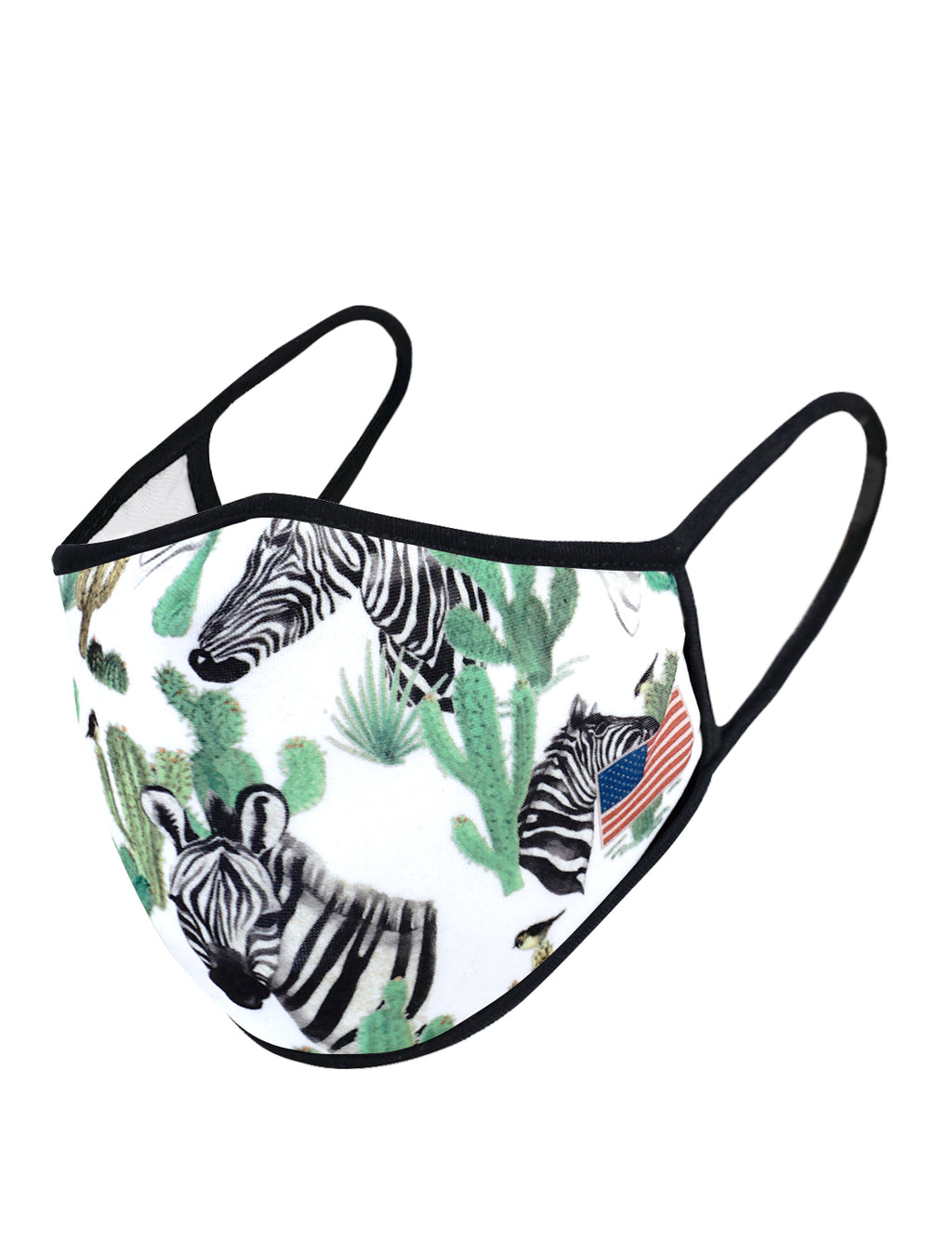 UXM0044 / One Size (12pcs) x $5.50-Fashion Print-Cotton Mask-White Zebra Animal US Flag Print Washable and Reusable Fashion Face Mask (UXM0044)-Urban X Apparel