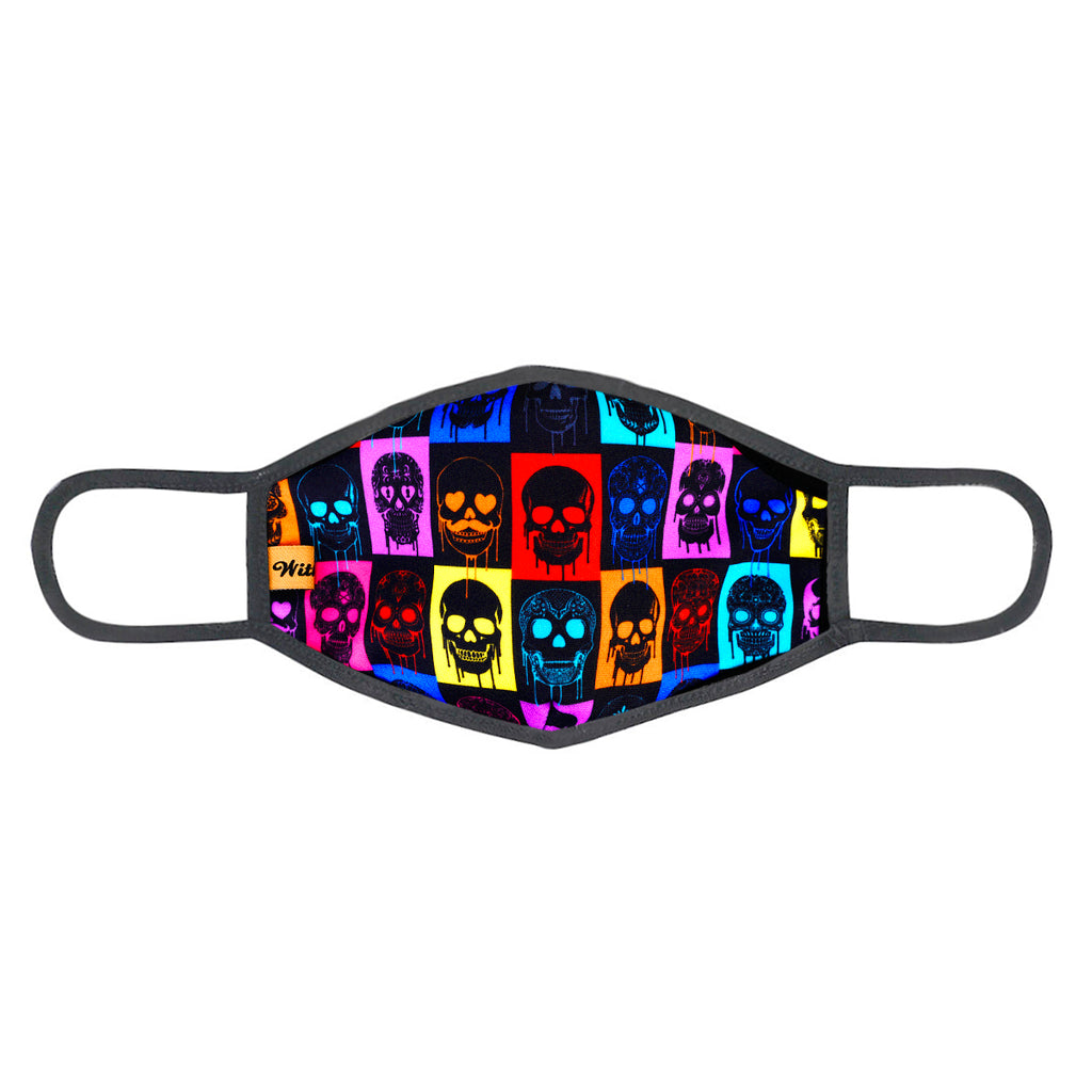 urban x apparel, urban x clothing, urbanxapparel, urbanxclothing, wholesale, women clothing, bohemian, free people, free spirit, young contemporary, fashion trend, fashion style, fashion 2019,RETAIL, Urban X Black Cubed Multicolor Skull Print Washable and Reusable Fashion Face Mask (UXM0053), URBAN X APPAREL