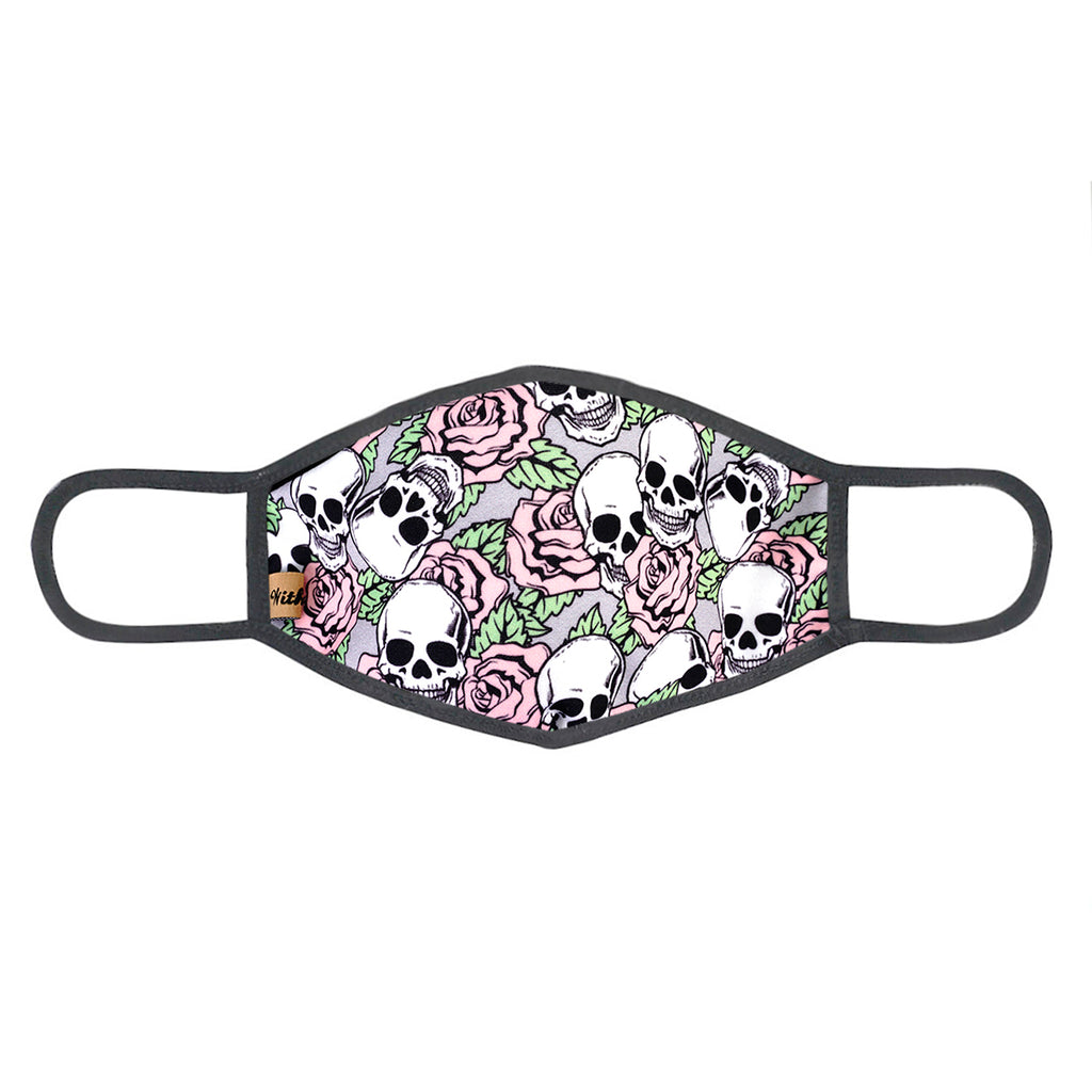 urban x apparel, urban x clothing, urbanxapparel, urbanxclothing, wholesale, women clothing, bohemian, free people, free spirit, young contemporary, fashion trend, fashion style, fashion 2019,RETAIL, Urban X Gray and Pink Skulls & Roses Print Washable and Reusable Fashion Face Mask (UXM0057), URBAN X APPAREL