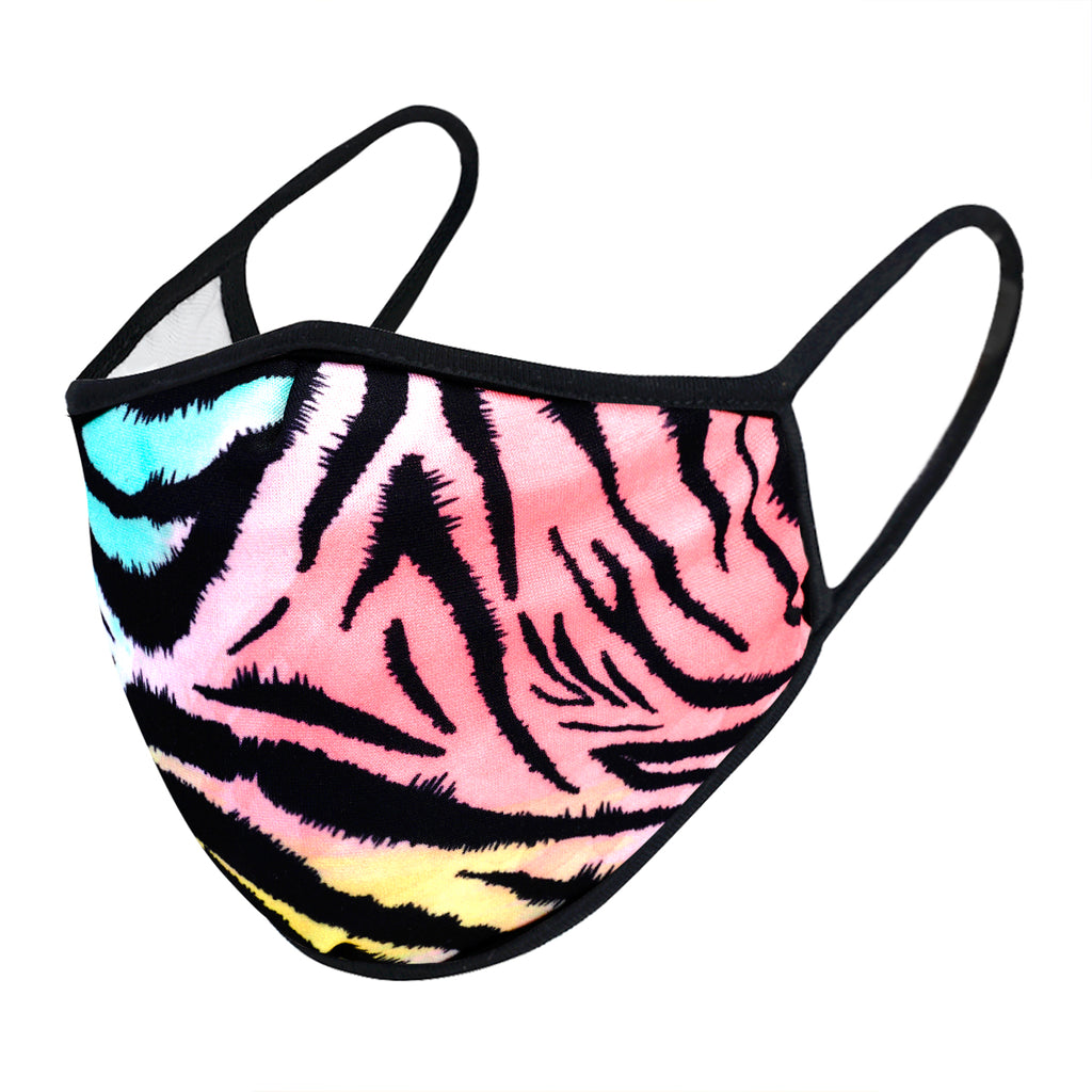 urban x apparel, urban x clothing, urbanxapparel, urbanxclothing, wholesale, women clothing, bohemian, free people, free spirit, young contemporary, fashion trend, fashion style, fashion 2019,RETAIL, Multicolor Neon Zebra Animal Print Washable and Reusable Face Mask (UXM0062), URBAN X APPAREL