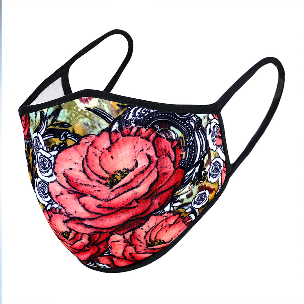urban x apparel, urban x clothing, urbanxapparel, urbanxclothing, wholesale, women clothing, bohemian, free people, free spirit, young contemporary, fashion trend, fashion style, fashion 2019,RETAIL, Urban X Multicolor Graffiti Floral Print Washable and Reusable Fashion Face Mask (UXM0071), URBAN X APPAREL