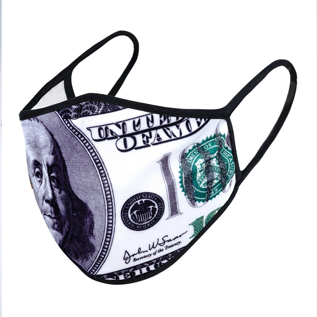urban x apparel, urban x clothing, urbanxapparel, urbanxclothing, wholesale, women clothing, bohemian, free people, free spirit, young contemporary, fashion trend, fashion style, fashion 2019,RETAIL, Urban X USA Benjamin 100 Dollar Bill Print Washable and Reusable Fashion Face Mask (UXM0074), URBAN X APPAREL