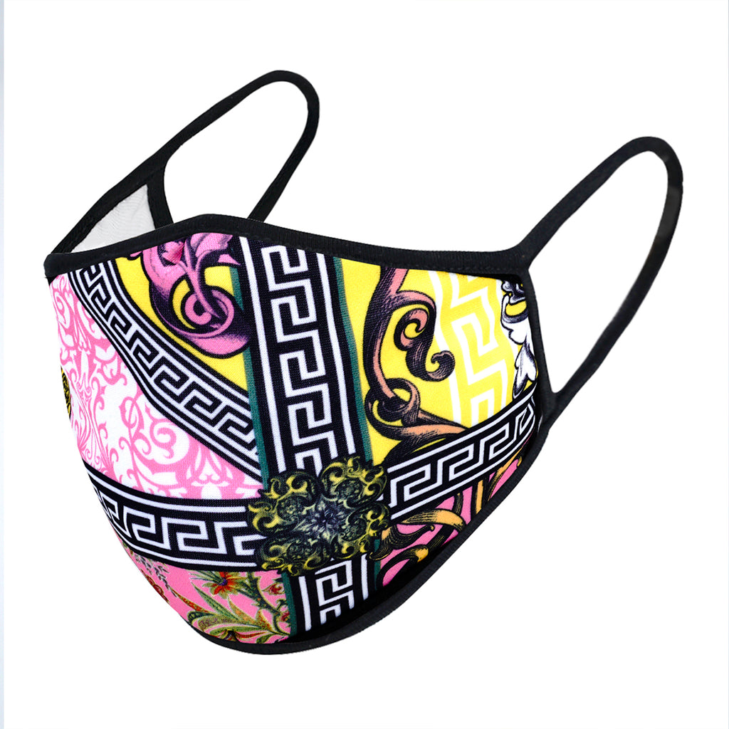 urban x apparel, urban x clothing, urbanxapparel, urbanxclothing, wholesale, women clothing, bohemian, free people, free spirit, young contemporary, fashion trend, fashion style, fashion 2019,RETAIL, Urban X Greca Key Floral Design Washable and Reusable Fashion Face Mask (UXM0076), URBAN X APPAREL