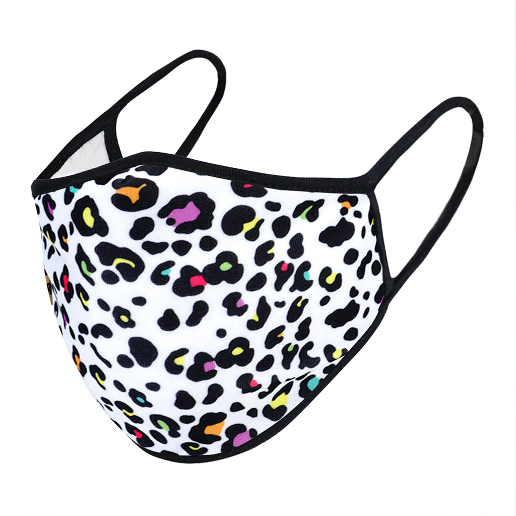 urban x apparel, urban x clothing, urbanxapparel, urbanxclothing, wholesale, women clothing, bohemian, free people, free spirit, young contemporary, fashion trend, fashion style, fashion 2019,RETAIL, Urban X White Mini Multicolor Cheetah Print Washable and Reusable Fashion Face Mask (UXM0089), URBAN X APPAREL