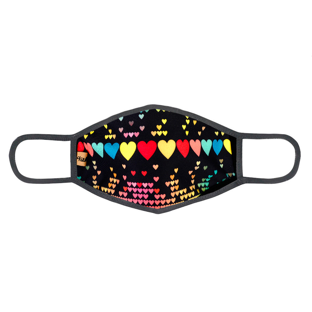 urban x apparel, urban x clothing, urbanxapparel, urbanxclothing, wholesale, women clothing, bohemian, free people, free spirit, young contemporary, fashion trend, fashion style, fashion 2019,RETAIL, Urban X Black Multicolor Digital Hearts Print Washable and Reusable Fashion Face Mask (UXM0094), URBAN X APPAREL