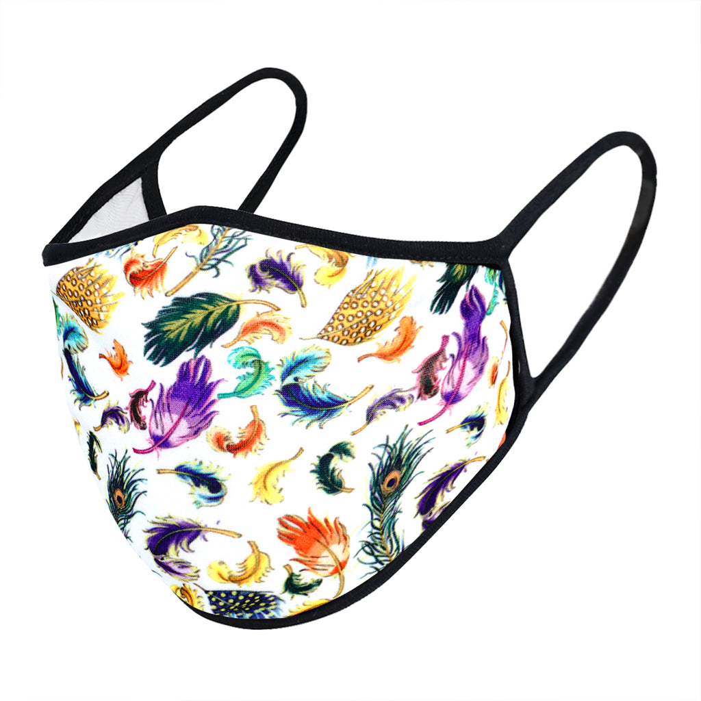 urban x apparel, urban x clothing, urbanxapparel, urbanxclothing, wholesale, women clothing, bohemian, free people, free spirit, young contemporary, fashion trend, fashion style, fashion 2019,RETAIL, Urban X Colorful Multi Design Feather Print Washable and Reusable Fashion Face Mask (UXM0097), URBAN X APPAREL