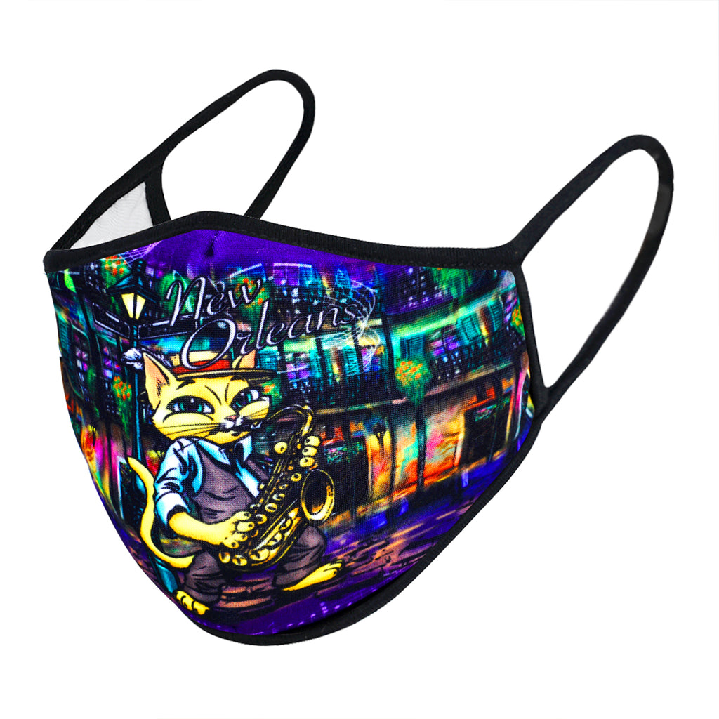 UXM0140 / One Size (12pcs) x $6.25-Fashion Print-Cotton Mask-New Orleans Jazz Cat Design Washable & Reusable Face Mask UXM0140-Urban X Apparel