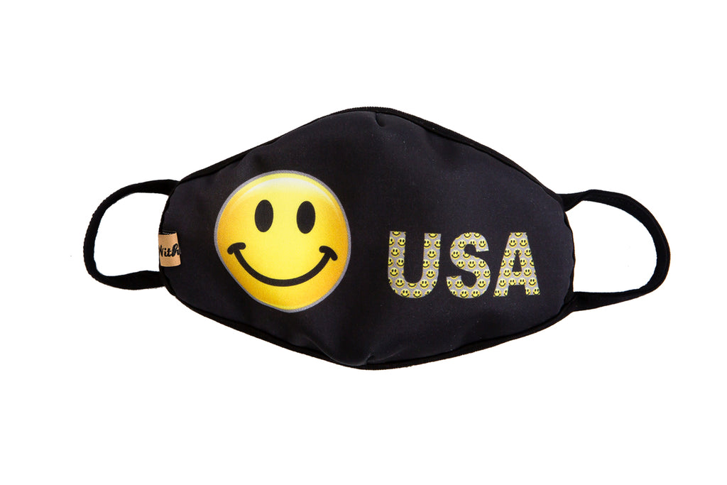 urban x apparel, urban x clothing, urbanxapparel, urbanxclothing, wholesale, women clothing, bohemian, free people, free spirit, young contemporary, fashion trend, fashion style, fashion 2019,RETAIL, Happy Face USA Print Washable and Reusable Face Mask, URBAN X APPAREL