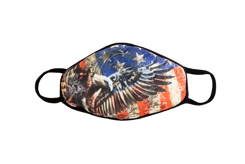 UXM0011 / One Size (12pcs) x $5.50-Fashion Print-Cotton Mask-American Eagle Flag Print Washable and Reusable Fashion Face Mask (UXM0011)-Urban X Apparel