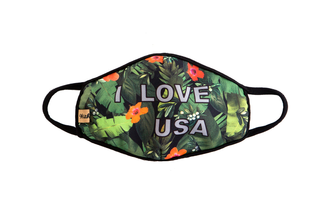 "urban x apparel, urban x clothing, urbanxapparel, urbanxclothing, wholesale, women clothing, bohemian, free people, free spirit, young contemporary, fashion trend, fashion style, fashion 2019,RETAIL, ""I Love USA"" Forest Print Washable and Reusable Face Mask, URBAN X APPAREL"