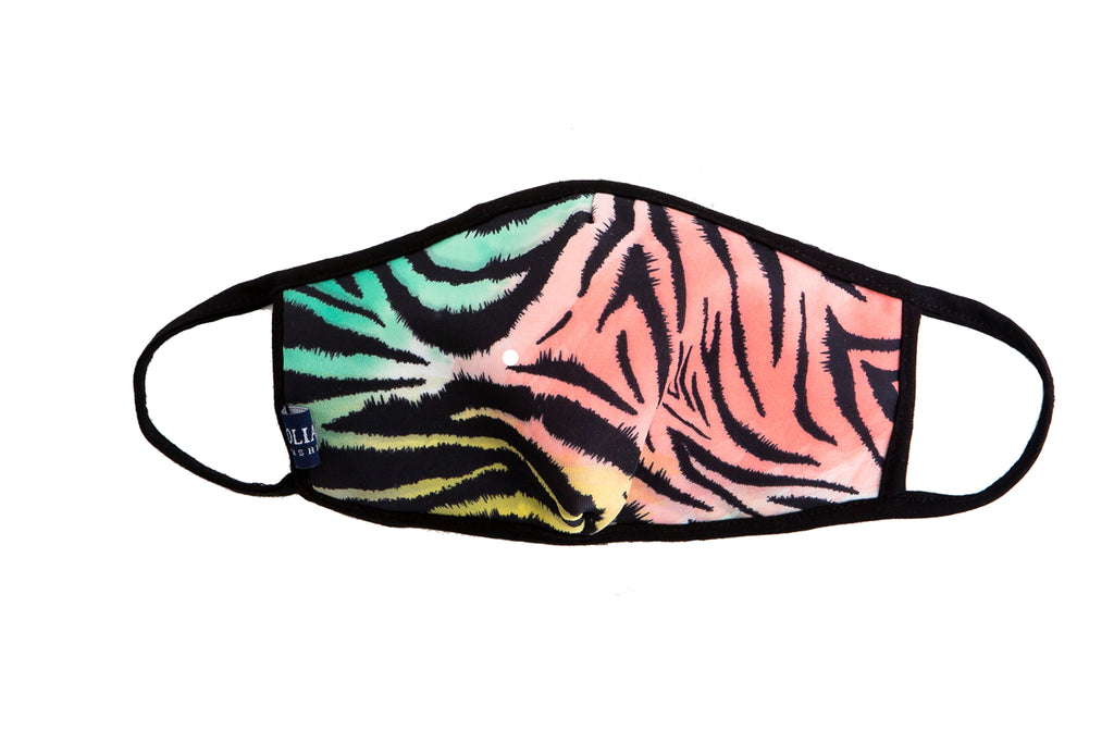 UXM0062 / One Size (12pcs) x $5.00-Fashion Print-Cotton Mask-Multicolor Neon Zebra Animal Print Washable and Reusable Face Mask (UXM0062)-Urban X Apparel