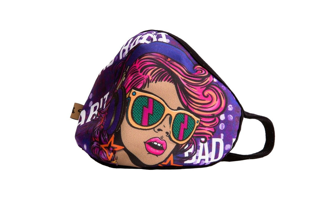 "UXM0001 / One Size (12pcs) x $5.50-Fashion Print-Cotton Mask-Multicolor Graffiti ""Bad Habit"" Girl with Shades Print Washable and Reusable Face Mask (UXM0001)-Urban X Apparel"
