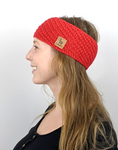 Girl wearing red alpaca headband