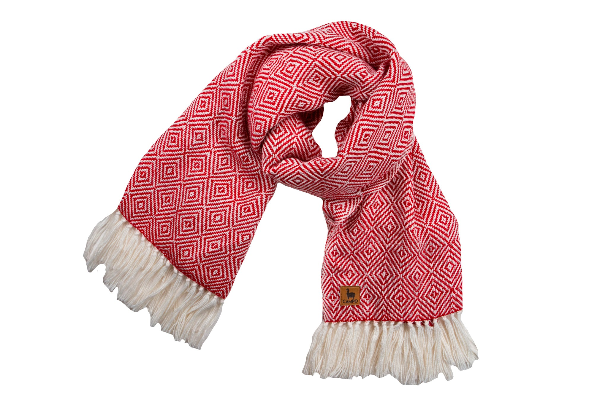 Alpaca Woven Scarf - Red Diamond