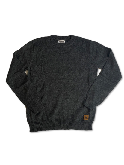 Dark Gray Alpaca Crew Neck Sweater