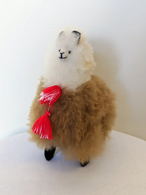 Large brown and white alpaca fluffy alpaca stuffed animal with real alpaca fiber