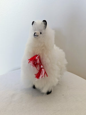 Small white alpaca fluffy alpaca stuffed animal with real alpaca fiber