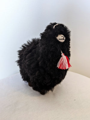 Black alpaca fluffy alpaca stuffed animal with real alpaca fiber
