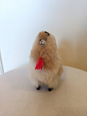 Cream alpaca fluffy with real alpaca fiber