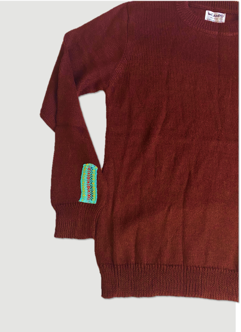Alpaca Crew Neck Sweater - Maroon