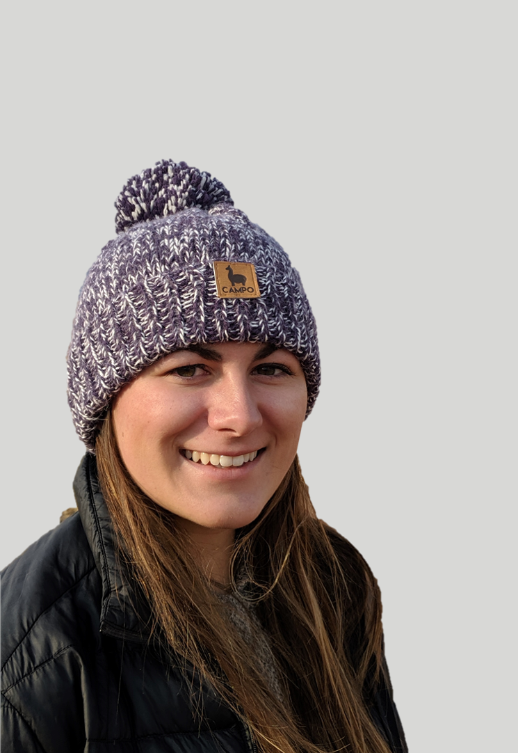 Alpaca Beanie - Purple & White